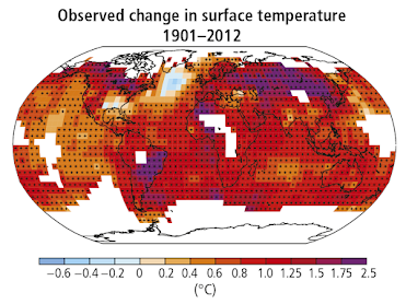 Global map showing the observered change in global surface temperature from 1901-2012