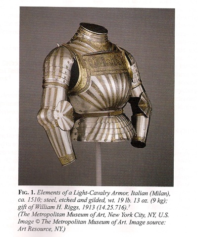 Suit of Steel and Gold Italian Light Cavalry armor circa 1510 CE