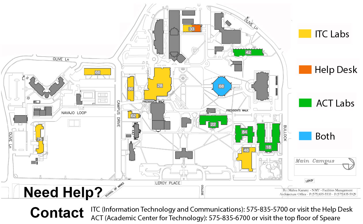 Map of ITC and ACT on-campus labs