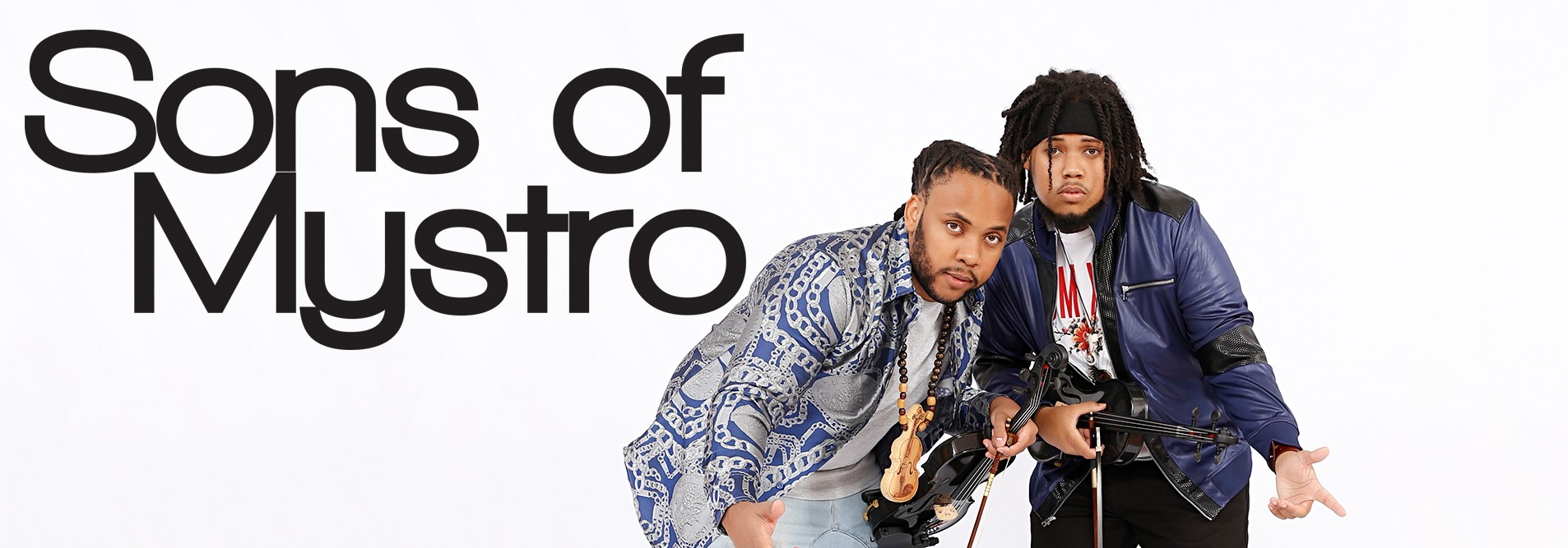 Sons of Mystro logo banner, showing the band name and the two siblings with their instruments.