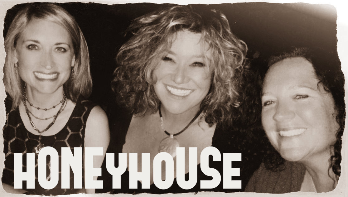 Honeyhouse hero banner image showing the three members in the band.