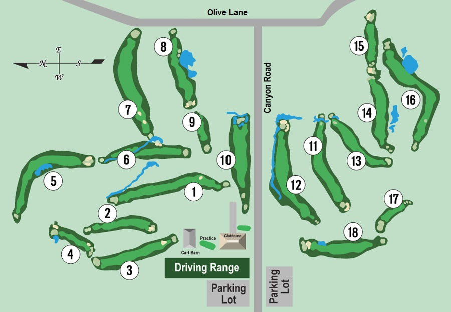 Graphic showing overhead view of the layout of the New Mexico Tech Golf Course